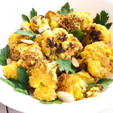 Turmeric Roasted Cauliflower with Tahini Sauce