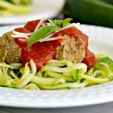 Turkey Meatballs Over Zucchini Pasta